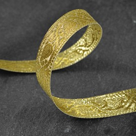 "19mm (3/4"") Metallic  Jacquard Ribbon Trim by Yard, SMB-1002D"