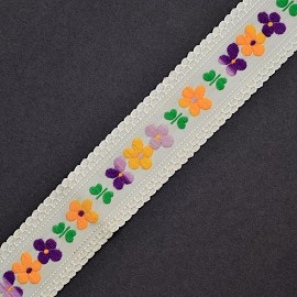 "1-1/4"" Flower Embroidery Ribbon by YD, ROI-7876"