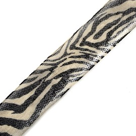 "1-5/8"" Zebra Printed Trim with Clear Sequins by YD, TR-10574"