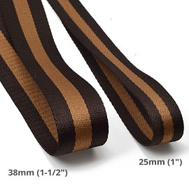 Brown Striped Webbing Band Ribbon Trim by Yard, TR-11842