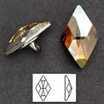 13 x 8mm Swarovski Rhinestone 2709 Rhombus Flat Back Button with Shank