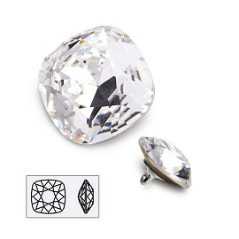18mm Swarovski Crystal 4470 Cushion Square Fancy Button with Shank