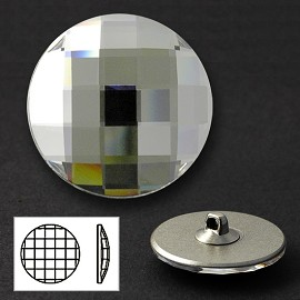 30mm Swarovski Crystal 2035 Chessboard Circle Flat Back Button with Shank