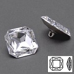 23mm Swarovski Crystal 4675 Square Octagon Fancy Button with Shank