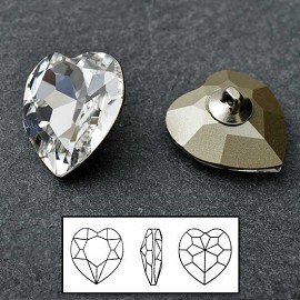 28mm Swarovski Rhinestone 4827 Heart Fancy Button Shank