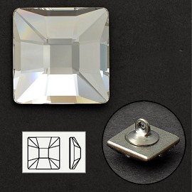 10mm Swarovski Crystal 2483 Classic Square Flat Back Button with Shank