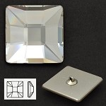 25mm Swarovski Crystal 2483 Classic Square Flat Back Button with Shank