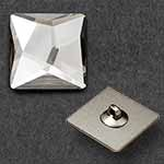 25mm Swarovski Crystal 2420 Asymmetric Square Flat Back Button with Shank