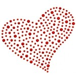 Heart Crystal Rhinestone Iron-on Motif Heat Transfer, H-1918