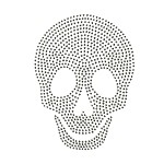Skull Rhinestuds Iron-on Motif Heat Transfer by PC, H-1827A