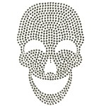Skull Metal Rhinestuds Iron-on Motif Heat Transfer by PC, H-1833A