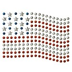 USA Flag Metal Stud Nailhead Heat Transfer Motif Iron-on Patch by PC, H-0119