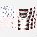 USA Flag Metal Stud Nailhead Heat Transfer Motif Iron-on Patch by PC, H-0121