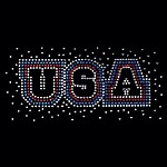 USA English Cut Rhinestone Iron-on Motif by PC, H-1751