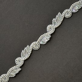 "3/4"" Sequin, Beaded Pearl Trim by YD, FF-4439"