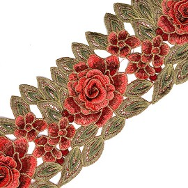 "5-1/2"" Embroidered Rose Flower Lace Trim by 1 Yard, TR-11254"