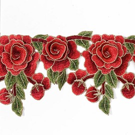 "5-1/2"" Embroidered Rose Flower Lace Trim by 1 Yard, TR-11255"