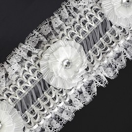 "4-1/2"" Floral Ribbon Trim by Yard, HDL-012"