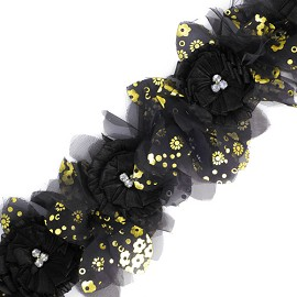 "4-1/2"" Floral Ribbon Trim by Yard, HDL-013"