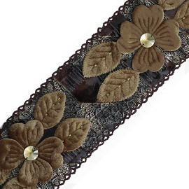 "3-1/4"" Floral Ribbon Trim by Yard, HDL-018"