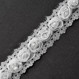 "1-1/8"" Floral Ribbon Trim with Pearl by YD, STEP-9745"
