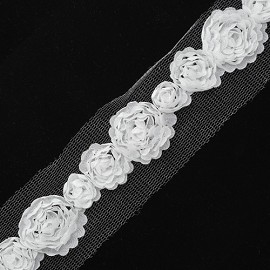 "1-1/8"" Floral Ribbon Trim by Yard, STEP-S9896"