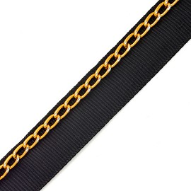 "1/2"" Chain Trim with Black Ribbon by YD, TR-10261B"
