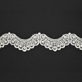 "2"" Pearl Beaded Lace by YD, ROI-44178"