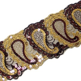 "3-5/8"" Embroidery Lace with Sequins by YD, SEE-6Z31-11"