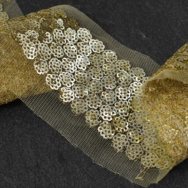 "1-7/8"" Gold Sequin Trim by 1 yard, SMB-MM1022"