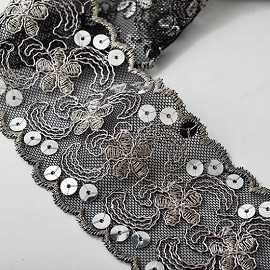 "2-3/8"" Metallic Sequin & Thread Lace Trim by Yard, TR-10260"