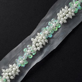 "1"" Pearl & Sequin Trim by YD, TR-10517"