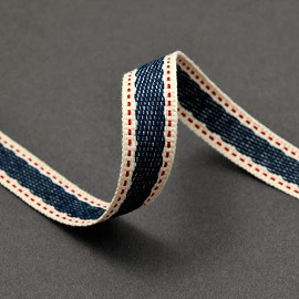 "5/8"" Stitched Twill Tape Trim Ribbon by Yard, BS-5125"
