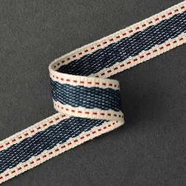 "5/8"" Navy Woven Saddle Stitch Ribbon Tape by Yard, SP-2672"